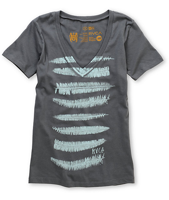 RVCA Firn Stripe Charcoal V-Neck T-Shirt