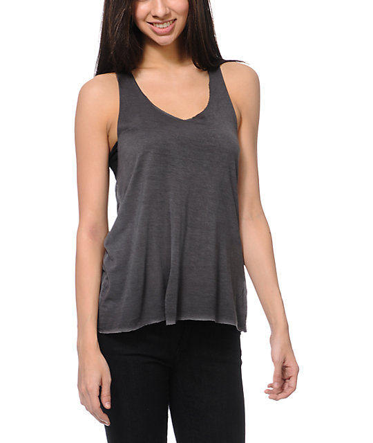 RVCA Forage Weaved Back Shale Grey Tank Top