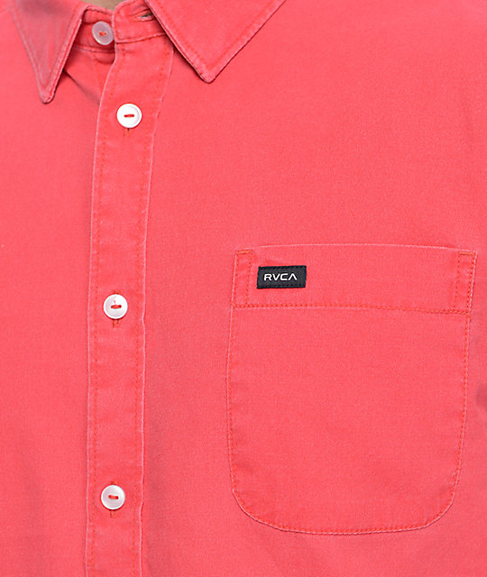 RVCA Front Lawn Bright Red Short Sleeve Button Up Shirt