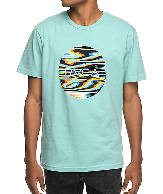 rvca glitch blue tshirt