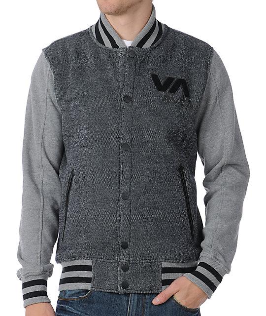 RVCA Going Steady Black & Grey Varsity Jacket