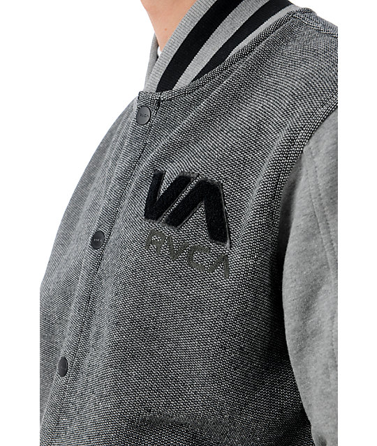 RVCA Going Steady Grey Fleece Varsity Jacket
