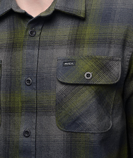RVCA Highland II Olive & Grey Flannel Button Up Shirt