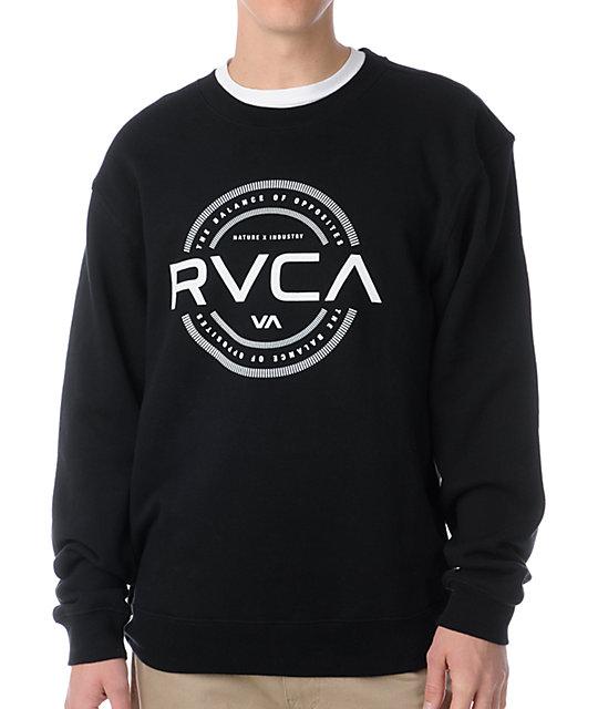 RVCA Industry Stamp Black Crew Neck Sweatshirt