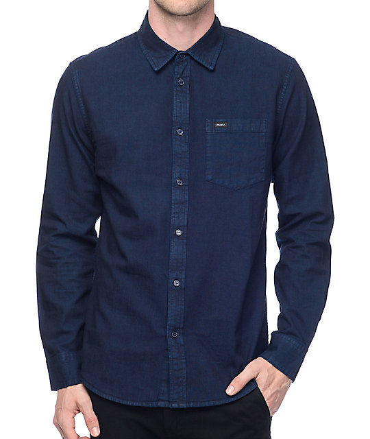 RVCA Johnny Dark Blue Denim Long Sleeve Button Up Shirt at Zumiez ...