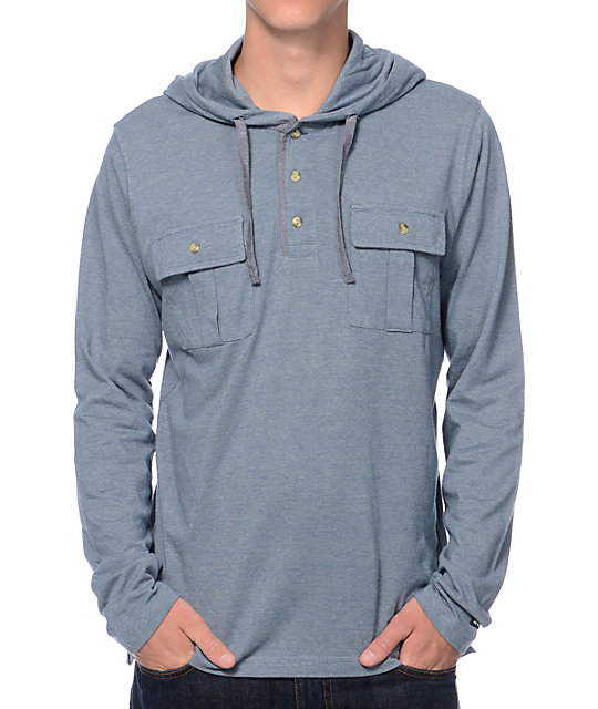 RVCA Kindling Sea Green Hooded Henley Long Sleeve Shirt