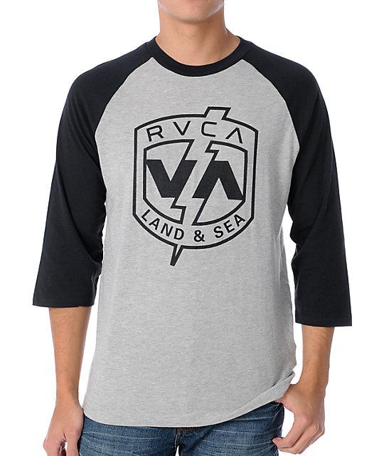 RVCA Land And Sea Black & Grey Baseball T-Shirt