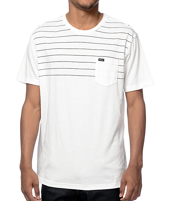RVCA Level White Stripe Pocket T-Shirt