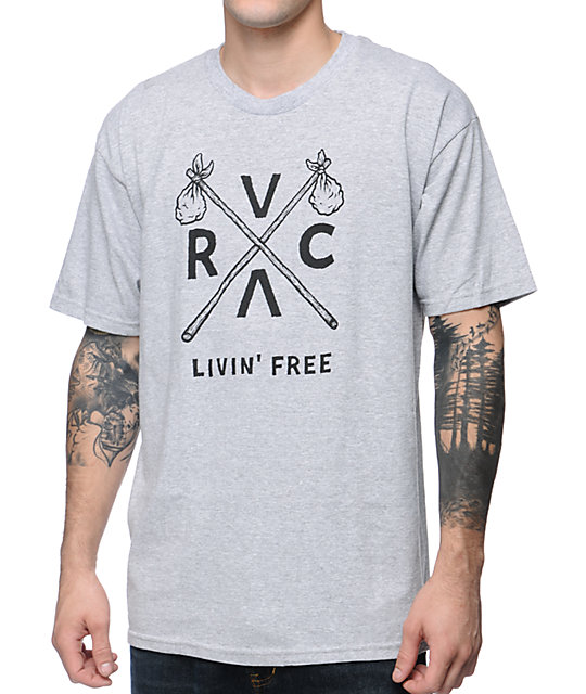 RVCA Livin Free ANP Heather Grey T-Shirt