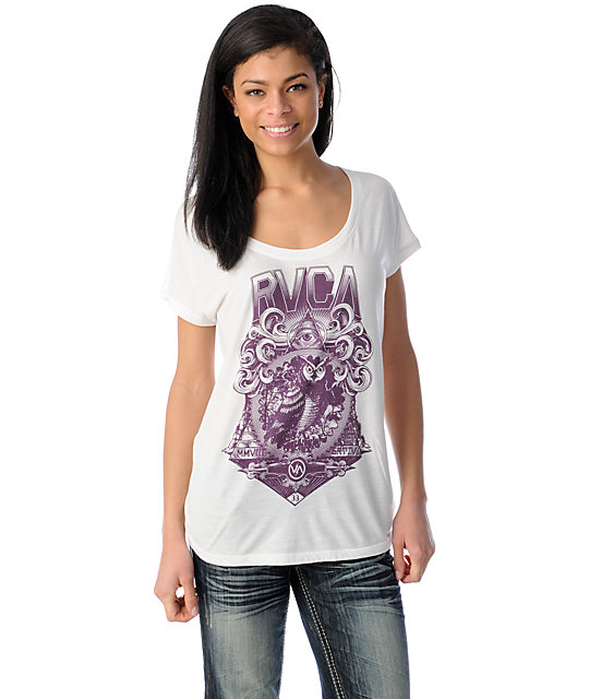 RVCA Masonic Owl Natural Wide Scoop Neck Lunar T-Shirt