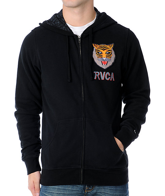 RVCA Mens Leines Tiger Black Zip Up Hoodie