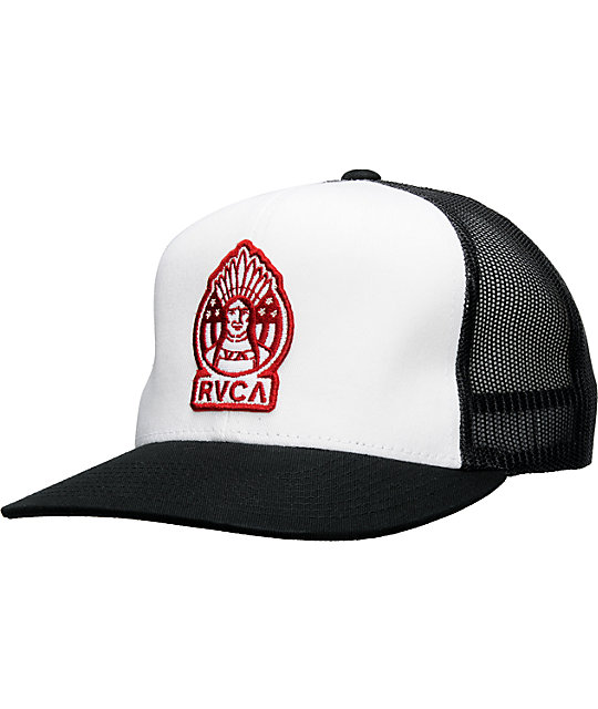 RVCA Mens Tribe White & Black Trucker Hat