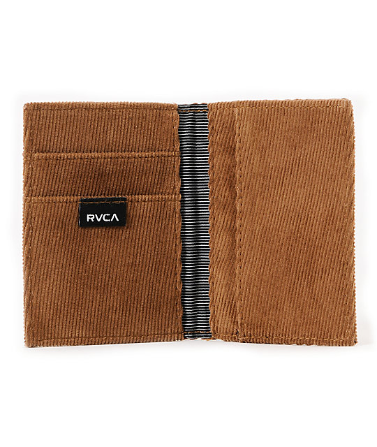RVCA Mill Folding Card Brown Bifold Wallet