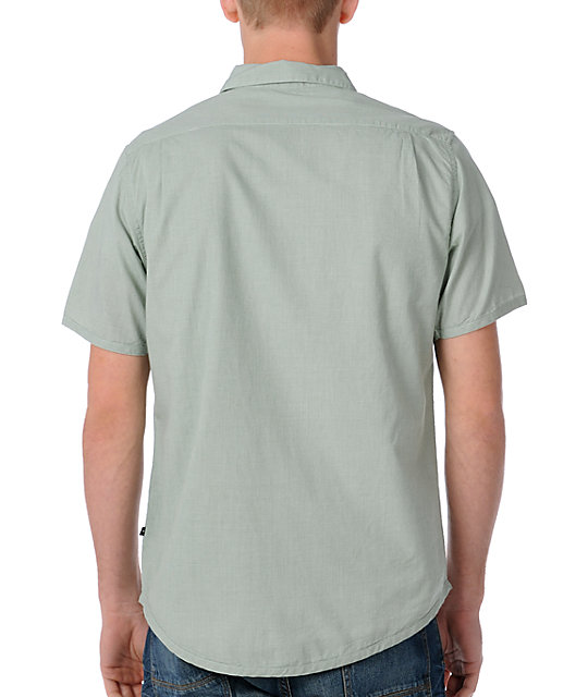 RVCA Mini Blue Green Short Sleeve Woven Shirt