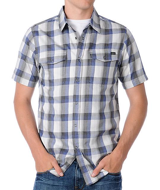RVCA Noah Blue Plaid Short Sleeve Woven Shirt