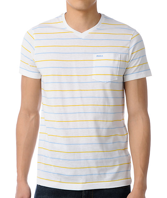 RVCA Off-White Striped V-Neck T-Shirt