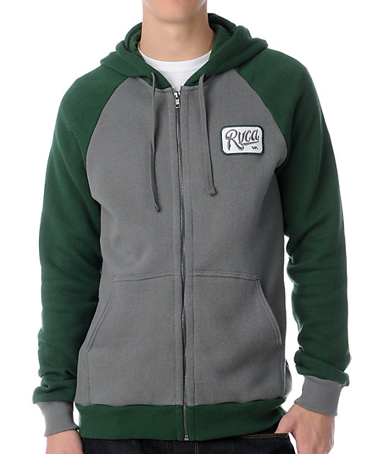 RVCA Overtime Grey & Green Zip Up Hoodie