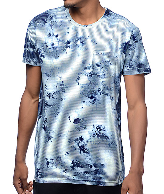 RVCA PTC Indigo Bleach Dye Striped T-Shirt