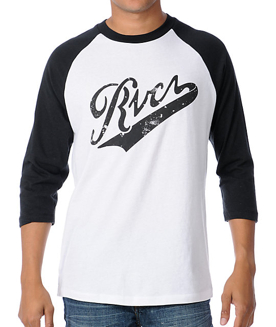 RVCA Pennant Fade White & Black Baseball T-Shirt