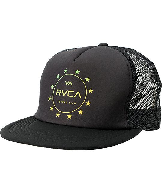 RVCA Puerto Rico Stars Black Snapback Trucker Hat
