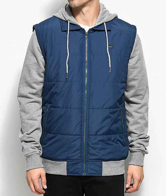 Puffer 2Fer Navy, Green & Grey Hooded Jacket
