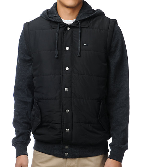 RVCA Puffer Black & Charcoal Vest Hoodie