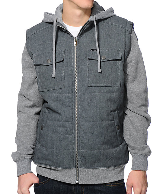 RVCA Puffer Charcoal & Grey Vest Hoodie