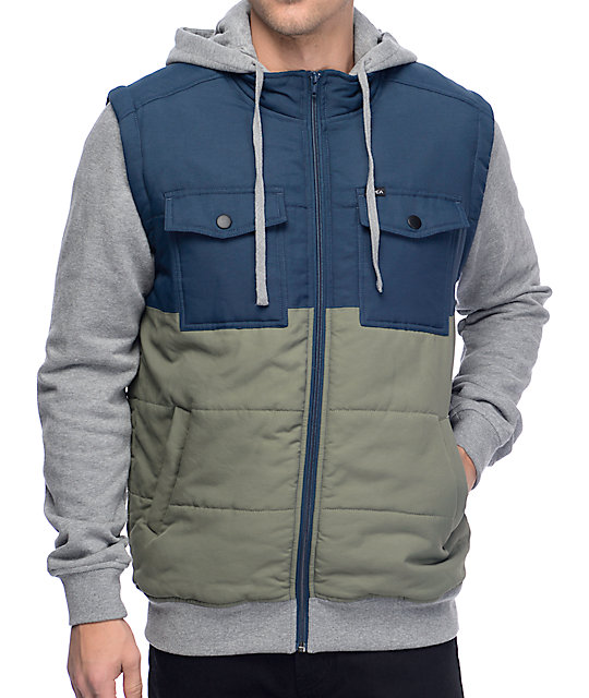 RVCA Puffer Tones 2fer Olive & Navy Jacket