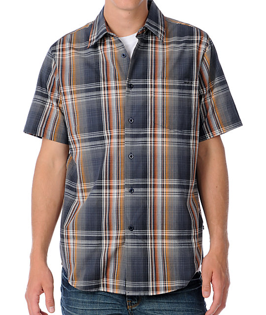 RVCA Raceway Grey Plaid Woven Short Sleeve Shirt