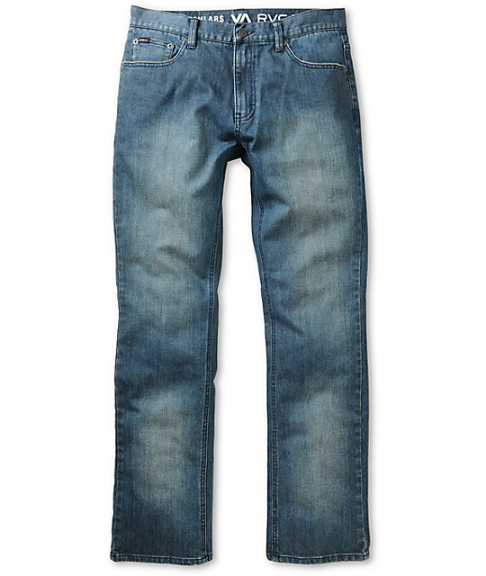 RVCA Regulars Dusty Blue Stretch Regular Fit Jeans