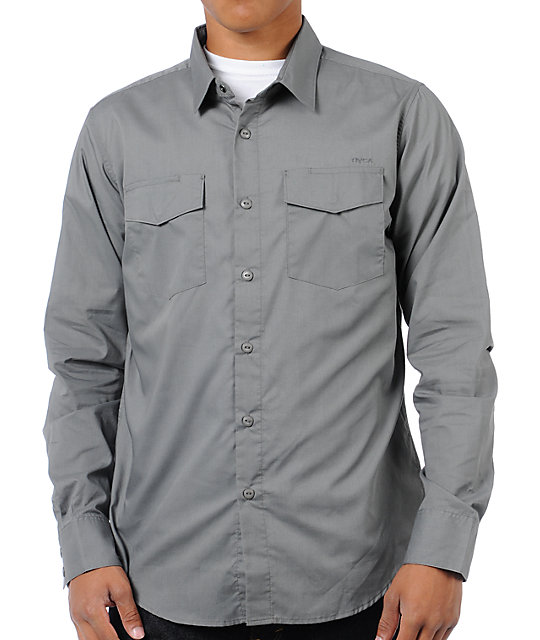 Rvca Republic Grey Button Up Shirt