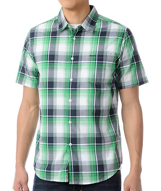 RVCA Riviera Green Plaid Short Sleeve Button Up Shirt