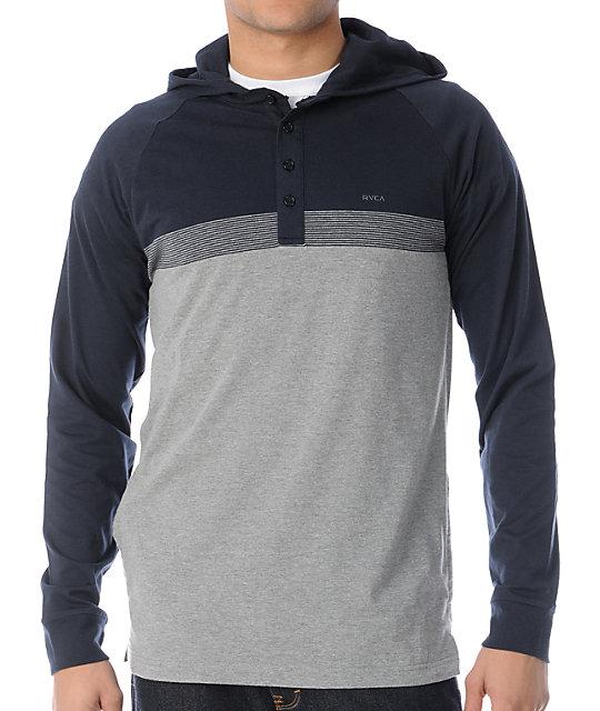 RVCA Rooky Grey & Navy Henley Pullover Hoodie