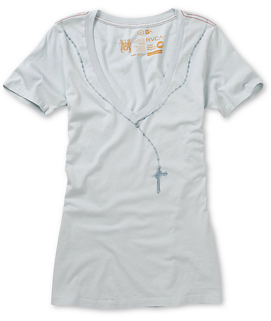 RVCA Rosary Light Blue V-neck T-Shirt