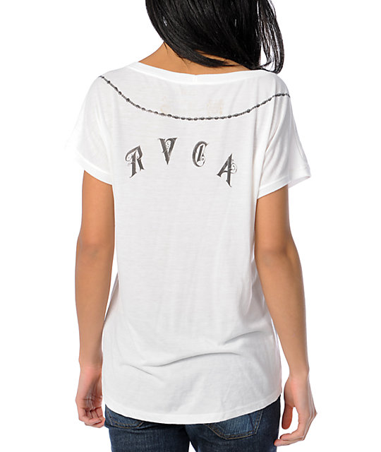 RVCA Rosary Natural Wide Scoop Neck Lunar T-Shirt