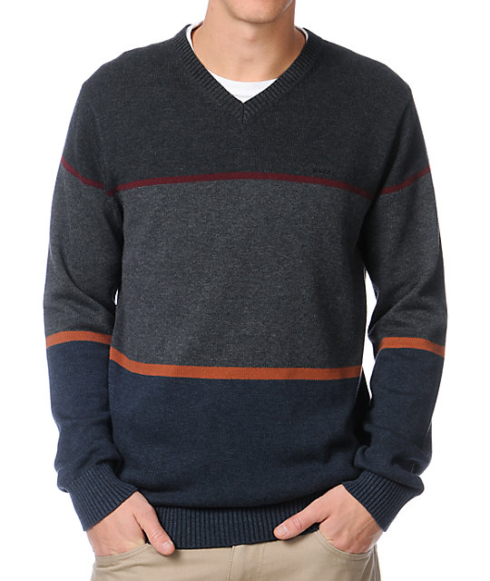 RVCA Rugged Charcoal Stripe Sweater