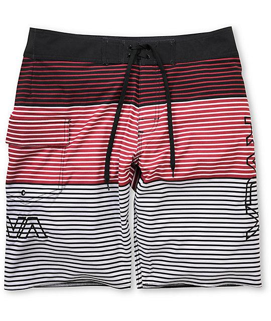RVCA Scorpius 21 Red Striped Board Shorts