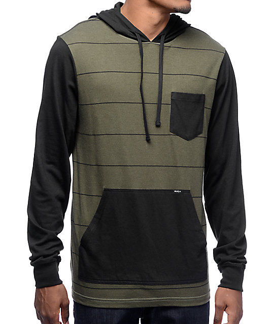 RVCA Set Up Olive & Black Striped Hooded Long Sleeve T-Shirt | Zumiez