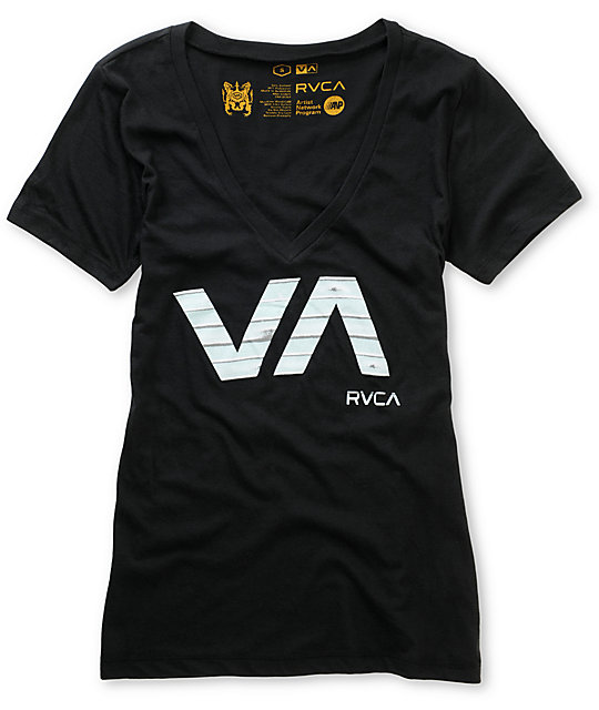 RVCA Slicer Black V-neck T-Shirt