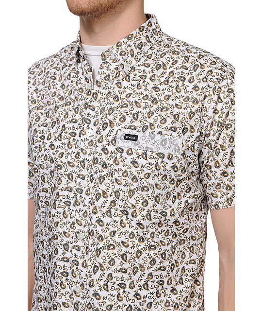 RVCA Small Paisley White Short Sleeve Woven Button Up Shirt