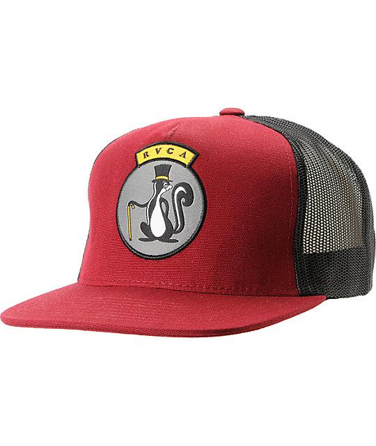 RVCA Sophisto Burgundy & Black Snapback Trucker Hat