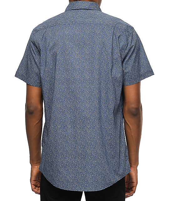 RVCA Speckles Navy & White Dot Short Sleeve Button Up Shirt | Zumiez