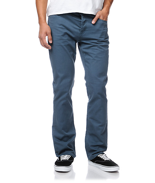 RVCA Stay Bourgeois Blue Stretch Twill Slim Fit Pants