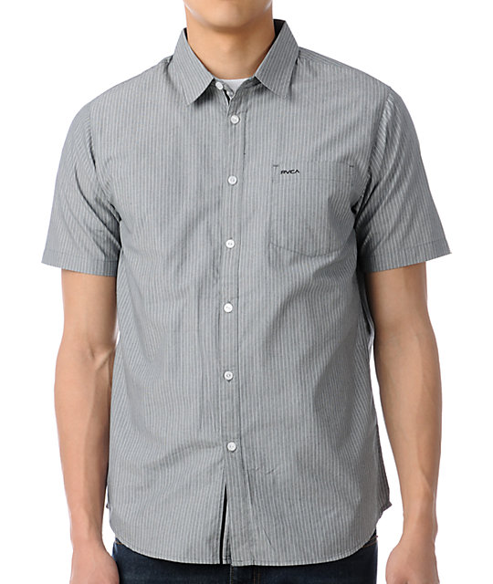RVCA Streamer Striped Short Sleeve Button Up Shirt