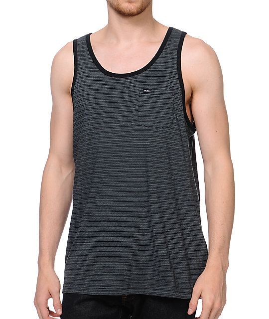 RVCA Swanston Black Stripe Tank Top