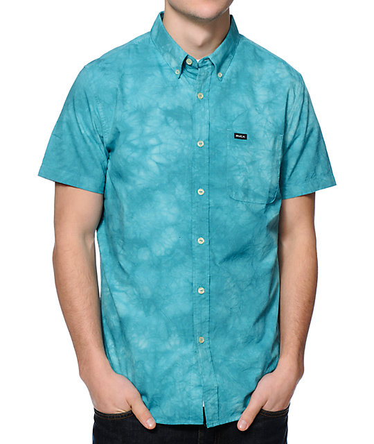 Rvca That 39 Ll Do Blue Tie Dye Oxford Button Up Shirt At