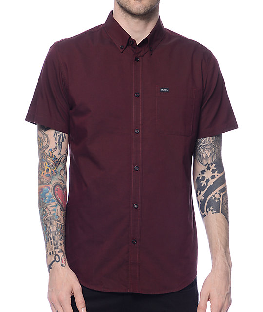 RVCA That'll Do Burgundy Oxford Shirt