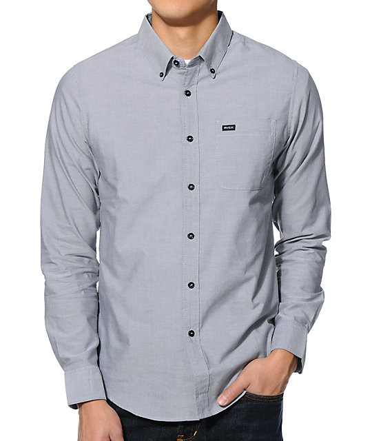 Rvca that 39 ll do charcoal long sleeve button up shirt at for Baseball button up t shirt dress
