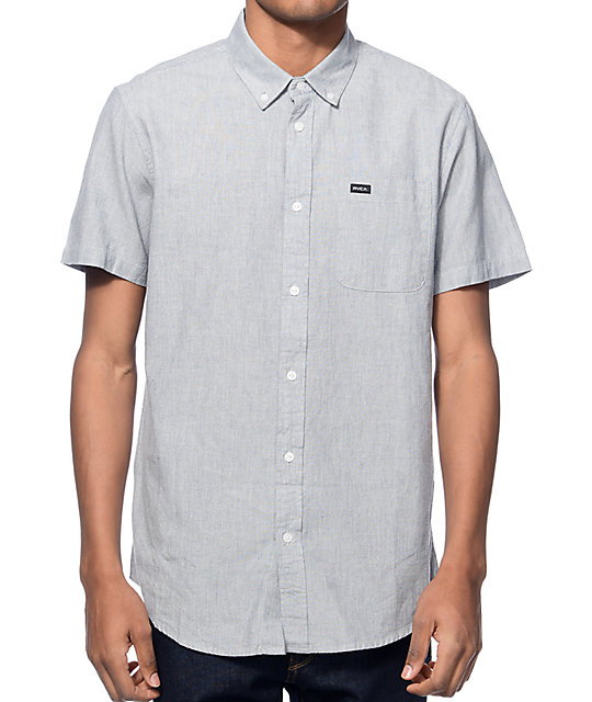 RVCA That'll Do Static Grey Button Up Shirt
