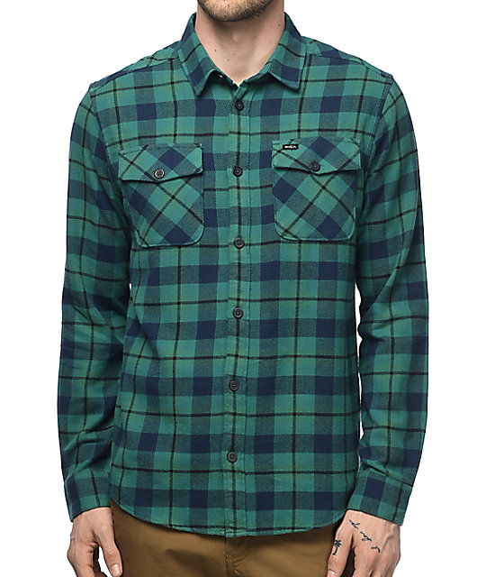 Rvca that 39 ll work teal flannel button up shirt zumiez for Blue button up work shirt